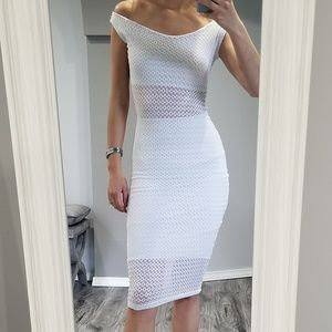 Occasion off white lace fitted dress